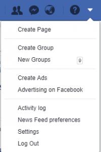 setting tab of Facebook