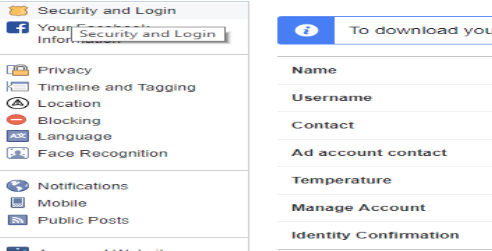 Security tab of Facebook