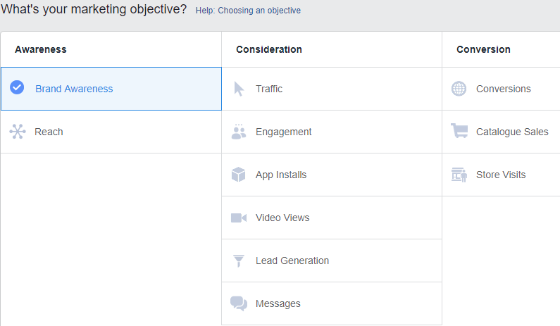 option provided to choose an objective