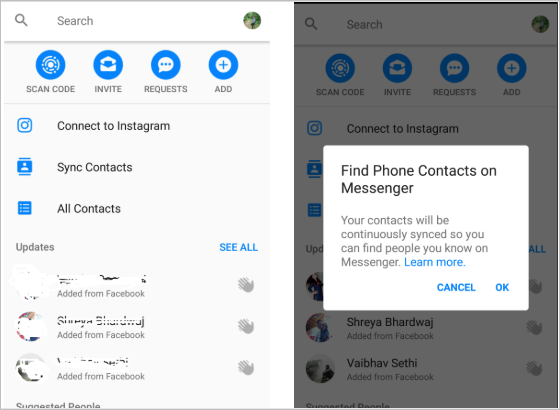 options to sync messenger with phone
