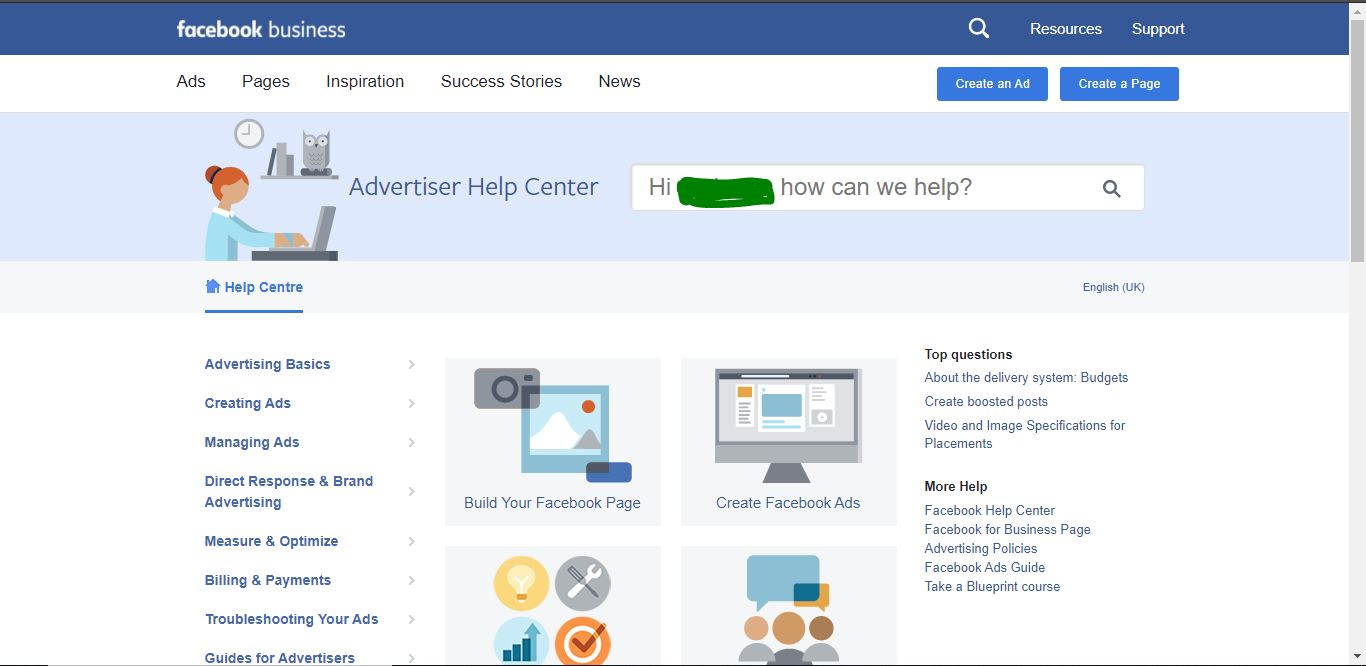 Ads Help Center page