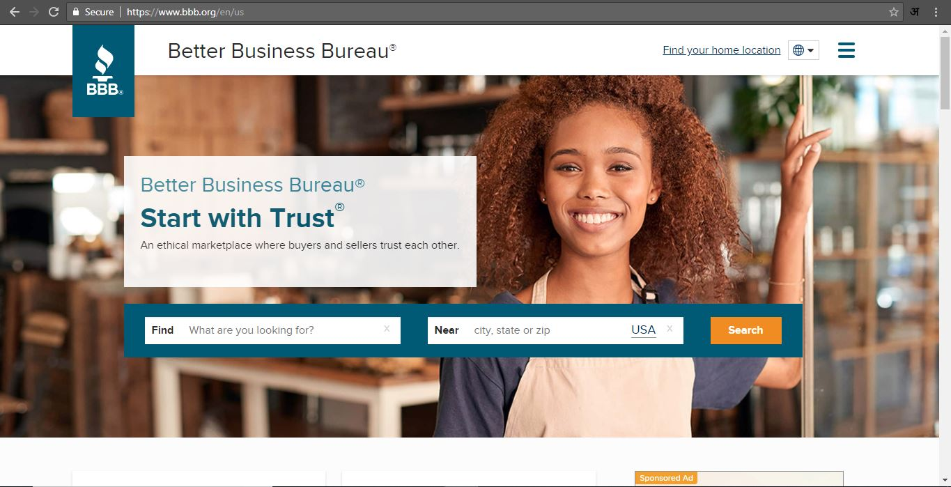 Better Business Bureau page