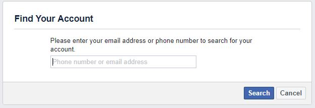 enter your email address or phone number to search for your Facebook account
