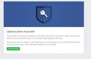 Upload picture for facebook password recovery